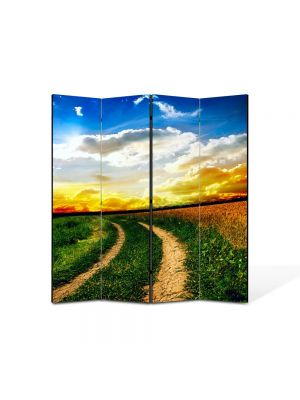 Paravan de Camera ArtDeco din 4 Panouri Peisaj Drum neasfaltat 105 x 150 cm