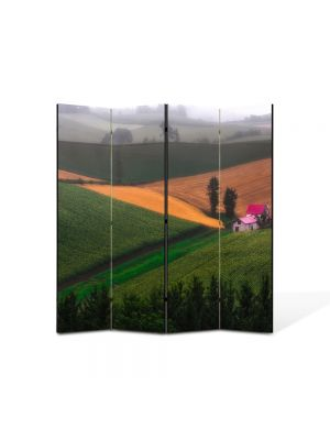 Paravan de Camera ArtDeco din 4 Panouri Peisaj Casa pe campie 105 x 150 cm