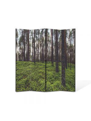 Paravan de Camera ArtDeco din 4 Panouri Peisaj Padure rara 105 x 150 cm