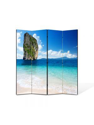Paravan de Camera ArtDeco din 4 Panouri Peisaj Stanca in mare 105 x 150 cm