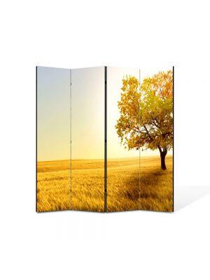 Paravan de Camera ArtDeco din 4 Panouri Peisaj Galben 105 x 150 cm