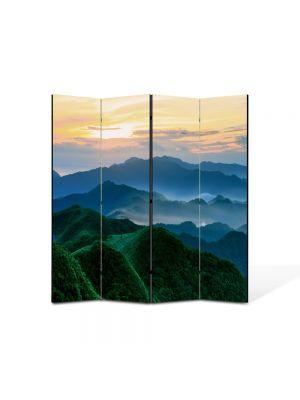 Paravan de Camera ArtDeco din 4 Panouri Peisaj Munti verzi 105 x 150 cm