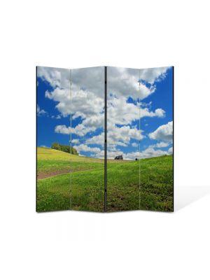 Paravan de Camera ArtDeco din 4 Panouri Peisaj Nori rasleti 105 x 150 cm