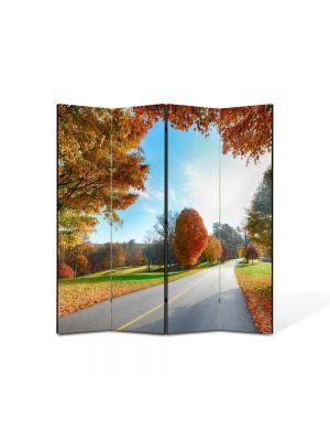 Paravan de Camera ArtDeco din 4 Panouri Peisaj Tunelul toamnei 105 x 150 cm