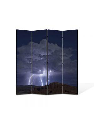 Paravan de Camera ArtDeco din 4 Panouri Peisaj Fulgere 105 x 150 cm
