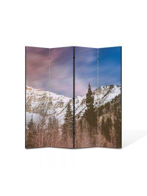 Paravan de Camera ArtDeco din 4 Panouri Peisaj Brazi de munte 105 x 150 cm
