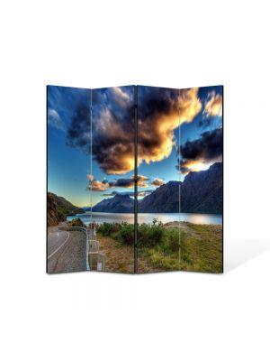 Paravan de Camera ArtDeco din 4 Panouri Peisaj Drum langa lac 105 x 150 cm