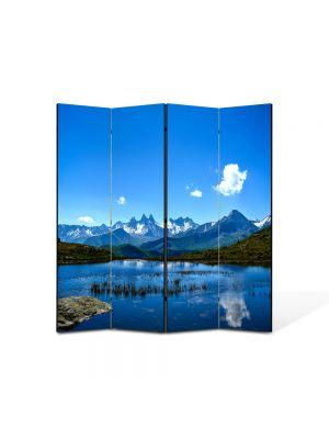 Paravan de Camera ArtDeco din 4 Panouri Peisaj Nor singuratic 105 x 150 cm