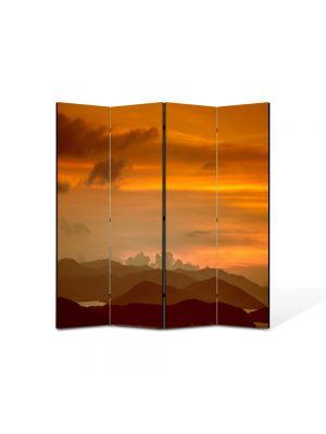 Paravan de Camera ArtDeco din 4 Panouri Peisaj Amurg 105 x 150 cm