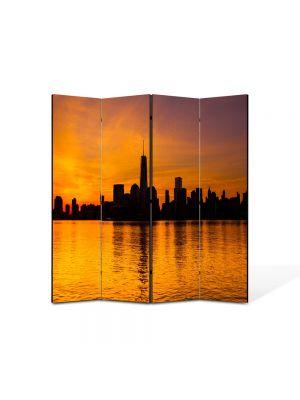Paravan de Camera ArtDeco din 4 Panouri Peisaj New York 105 x 150 cm