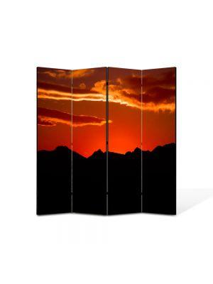 Paravan de Camera ArtDeco din 4 Panouri Peisaj Rosu si negru 105 x 150 cm