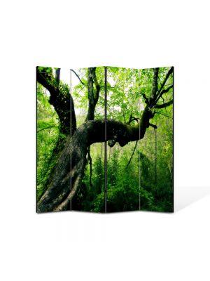 Paravan de Camera ArtDeco din 4 Panouri Peisaj Jungla 105 x 150 cm