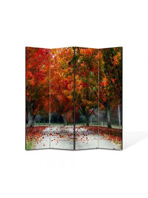 Paravan de Camera ArtDeco din 4 Panouri Peisaj Rosu puternic 105 x 150 cm
