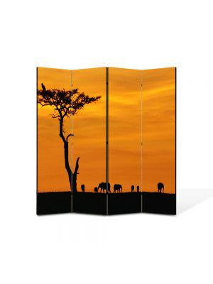 Paravan de Camera ArtDeco din 4 Panouri Peisaj Africa 105 x 150 cm