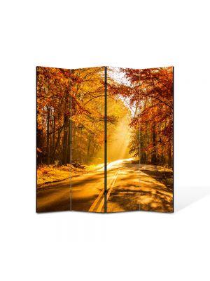 Paravan de Camera ArtDeco din 4 Panouri Peisaj Drum tomnatic 105 x 150 cm