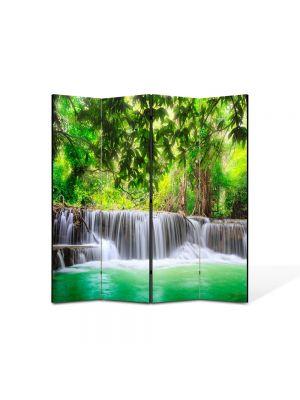 Paravan de Camera ArtDeco din 4 Panouri Peisaj Cascade multiple 105 x 150 cm