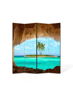 Paravan de Camera ArtDeco din 4 Panouri Peisaj Insulita 105 x 150 cm