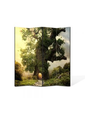 Paravan de Camera ArtDeco din 4 Panouri Peisaj Casa in copac 105 x 150 cm