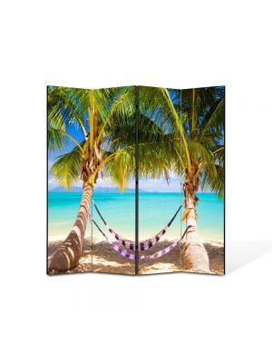 Paravan de Camera ArtDeco din 4 Panouri Peisaj Hamac 105 x 150 cm