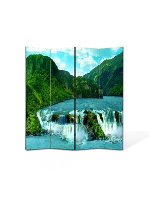 Paravan de Camera ArtDeco din 4 Panouri Peisaj Cascade 105 x 150 cm