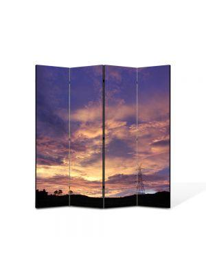 Paravan de Camera ArtDeco din 4 Panouri Peisaj Nori 105 x 150 cm