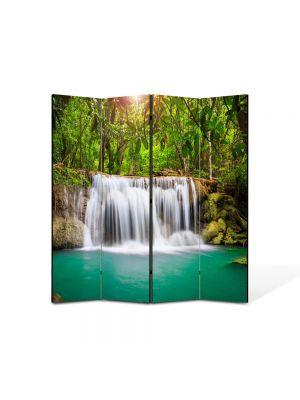 Paravan de Camera ArtDeco din 4 Panouri Peisaj Cascada in jungla 105 x 150 cm