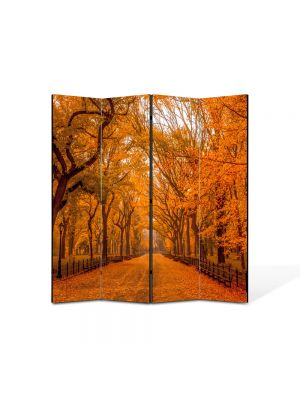 Paravan de Camera ArtDeco din 4 Panouri Peisaj Galben intens 105 x 150 cm