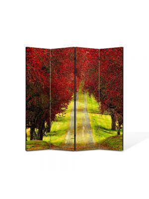 Paravan de Camera ArtDeco din 4 Panouri Peisaj Drum la vale 105 x 150 cm
