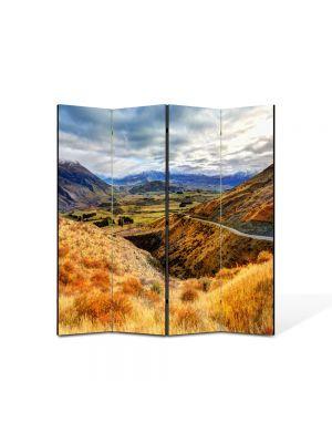 Paravan de Camera ArtDeco din 4 Panouri Peisaj Drum pe munte 105 x 150 cm