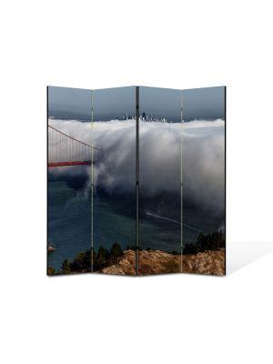 Paravan de Camera ArtDeco din 4 Panouri Peisaj Pod in nori 105 x 150 cm