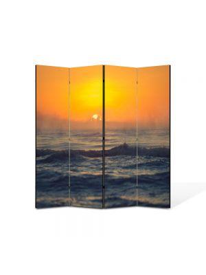 Paravan de Camera ArtDeco din 4 Panouri Peisaj Mare agitata la apus 105 x 150 cm