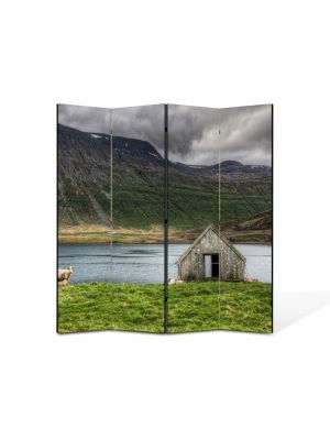 Paravan de Camera ArtDeco din 4 Panouri Peisaj Cabanuta 105 x 150 cm