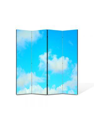 Paravan de Camera ArtDeco din 4 Panouri Peisaj Nori usori 105 x 150 cm