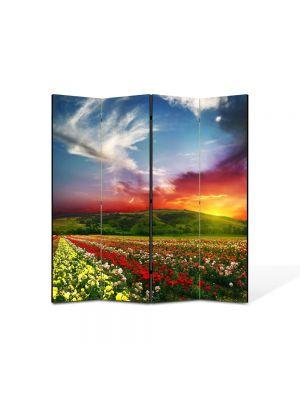 Paravan de Camera ArtDeco din 4 Panouri Peisaj Linie de flori 105 x 150 cm