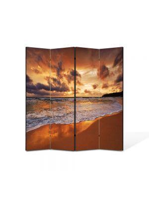 Paravan de Camera ArtDeco din 4 Panouri Peisaj Valuri 105 x 150 cm