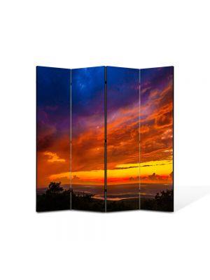 Paravan de Camera ArtDeco din 4 Panouri Peisajlori la apus 105 x 150 cm