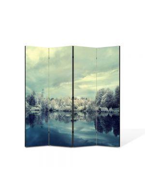 Paravan de Camera ArtDeco din 4 Panouri Peisaj Nuante reci 105 x 150 cm