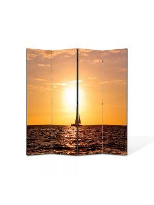 Paravan de Camera ArtDeco din 4 Panouri Peisaj Corabie vele 105 x 150 cm