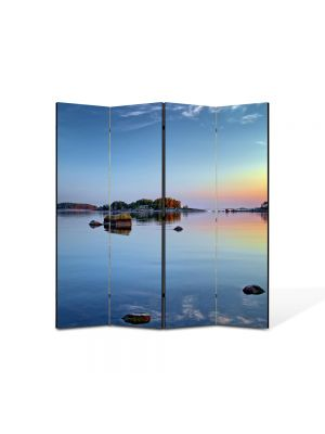 Paravan de Camera ArtDeco din 4 Panouri Peisaj Stanci pe lac 105 x 150 cm