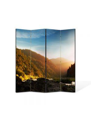 Paravan de Camera ArtDeco din 4 Panouri Peisaj In ceata 105 x 150 cm