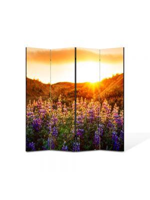 Paravan de Camera ArtDeco din 4 Panouri Peisaj Flori violet la munte 105 x 150 cm