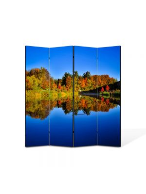 Paravan de Camera ArtDeco din 4 Panouri Peisaj Albastru inchis al lacului 105 x 150 cm