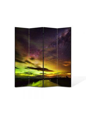 Paravan de Camera ArtDeco din 4 Panouri Peisaj Apus in nord 105 x 150 cm