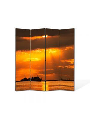 Paravan de Camera ArtDeco din 4 Panouri Peisaj Vapoare 105 x 150 cm