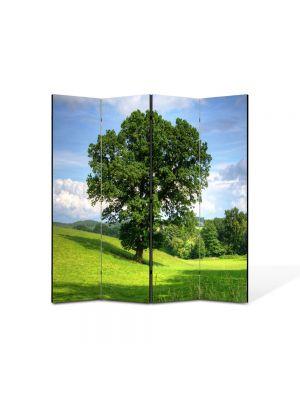 Paravan de Camera ArtDeco din 4 Panouri Peisaj Copac masiv 105 x 150 cm
