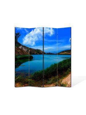 Paravan de Camera ArtDeco din 4 Panouri Peisaj Lac cristalin 105 x 150 cm