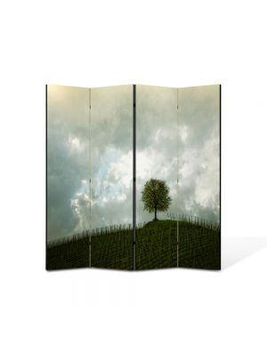Paravan de Camera ArtDeco din 4 Panouri Peisaj Copac si nori 105 x 150 cm
