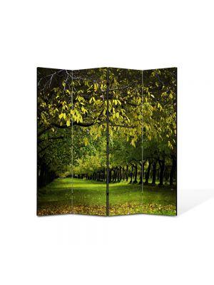 Paravan de Camera ArtDeco din 4 Panouri Peisaj Copaci verzi 105 x 150 cm