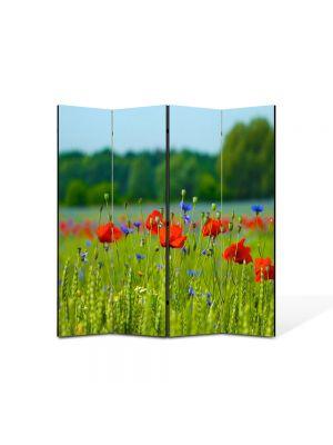 Paravan de Camera ArtDeco din 4 Panouri Peisaj Floricele pe campie 105 x 150 cm