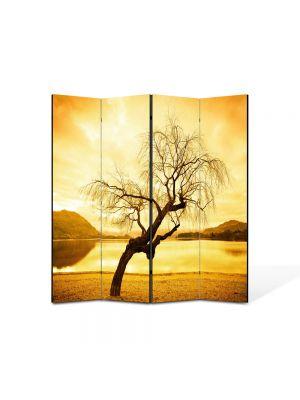 Paravan de Camera ArtDeco din 4 Panouri Peisaj galbui 105 x 150 cm